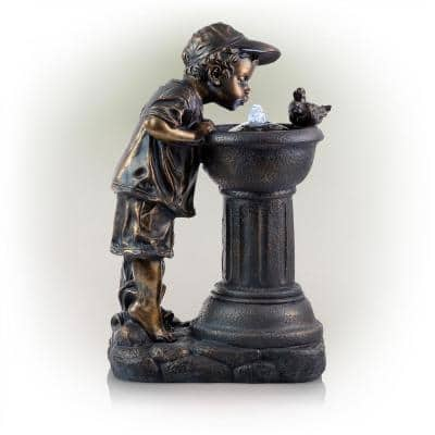 27 in. Tall Indoor/Outdoor Boy Drinking From Water Waterfall Fountain with LED Lights, Bronze