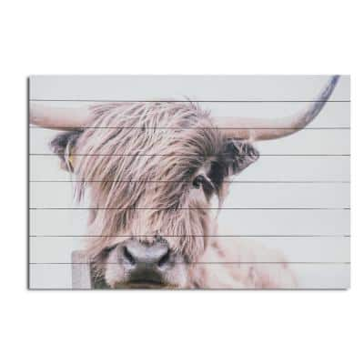 Highland Cow Planked Wood Animal Art Print 24 in. x 36 in.