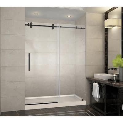 Langham 60 in. x 32 in. x 77.5 in. Frameless Sliding Shower Door in Oil Rubbed Bronze with Center Drain, Shower Base