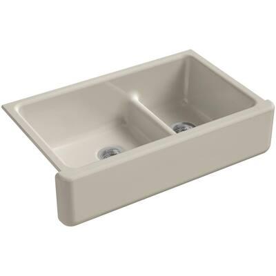 Whitehaven Smart Divide Farmhouse Apron-Front Cast Iron 36 in. Double Basin Kitchen Sink in Sandbar