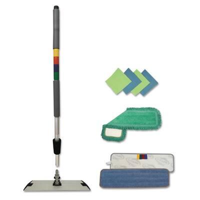 Microfiber Mopping Kit, 18 in. Mop Head, 35-60 in. Handle, Blue/Green/Gray, Wet Mop Pad Refills