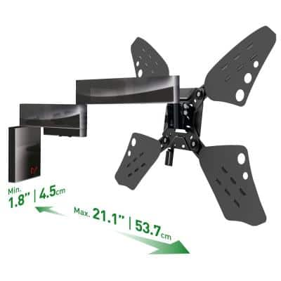 """Barkan 32"""" to 70"""" Full Motion - 4 Movement Flat / Curved TV Wall Mount, Black, Very Low Profile, Touch & Tilt"""