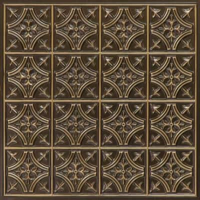 Scarlette 2 ft. L x 2 ft. L PVC GLue up or Lay in Ceiling Tile in Antique Gold (100 sq. ft./Case)