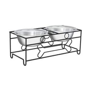 40 oz. Stainless Steel Elevated Pet Bowls with 6.5 in. Tall Stand (Set of 2)