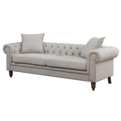 Juliet 85 in. Beige Linen 3-Seater Chesterfield Sofa with Round Arms