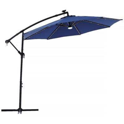 10 ft. Outdoor Cantilever Solar LED Patio Offset Hanging Umbrella in Blue