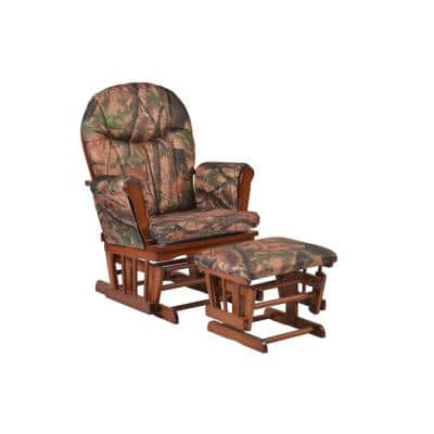 Home Deluxe Camouflage Fabric Cushion Glider Chair and Ottoman Set