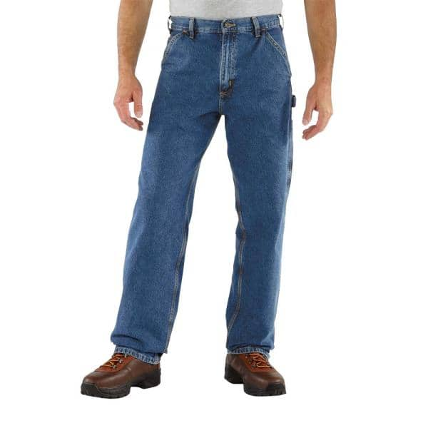Carhartt Men S 42x36 Darkstone Cotton Straight Leg Denim Bottoms B13 Dst The Home Depot