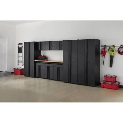 10-Piece Regular Duty Welded Steel Garage Storage System in Black (163 in. W x 75 in. H x 19 in. D)