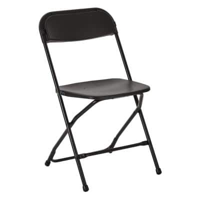 Black Plastic Seat Outdoor Safe Folding Chair (Set of 2)