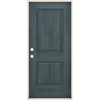 36 in. x 80 in. Right-Handed 2 Panel Square Denim Fiberglass Prehung Front Door