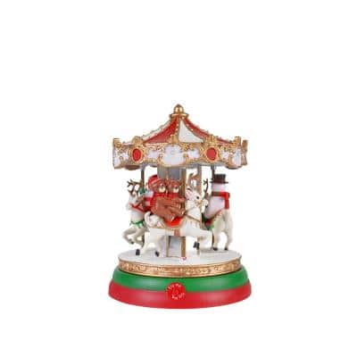 7 in. Animated Musical Lighted Carousel with LED Illumination and Sound