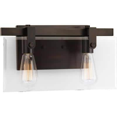 Glayse Collection 2-Light Antique Bronze Clear Glass Luxe Bath Vanity Light
