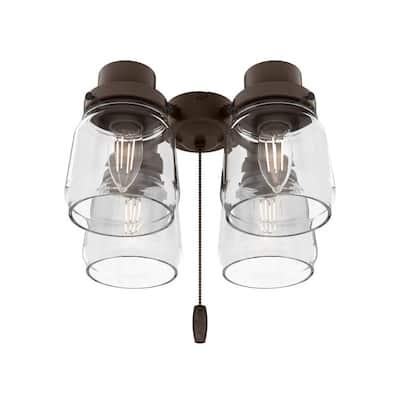 Original 4-Light Chestnut Brown Ceiling Fan Shades LED Light Kit