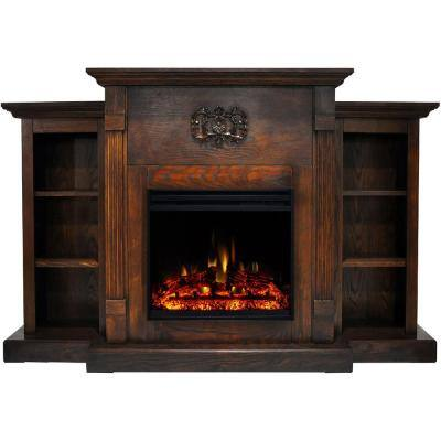 Sanoma 72 in. Electric Fireplace Heater in Walnut with Mantel, Bookshelves, Enhanced Multi-Color Log Display and Remote