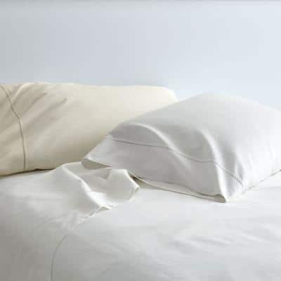 Organic Solid 300-Thread Count Cotton Sateen Fitted Sheet