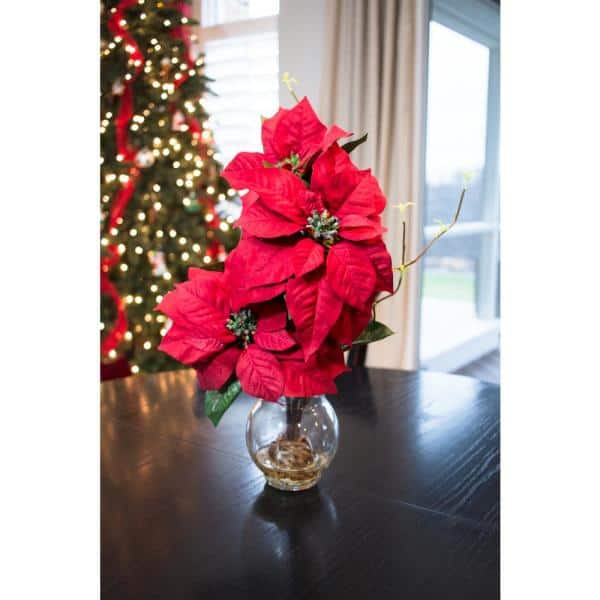Nearly Natural 20in H Red Poinsettia With Fluted Vase Silk Flower Arrangement 1263 The Home Depot