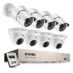 8-Channel 5MP 2TB POE DVR Security Camera System with 4 Wired Bullet Cameras and 4 Wired Dome Cameras