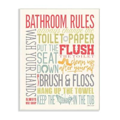 """10 in. x 15 in. """" Bathroom Rules Coral Green Grey and Blue Colorful Typography"""" by Stephanie Marrott Wall Plaque Art"""