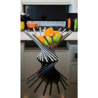 Heliot Large Chrome Stainless Steel Decorative Fruit Bowl