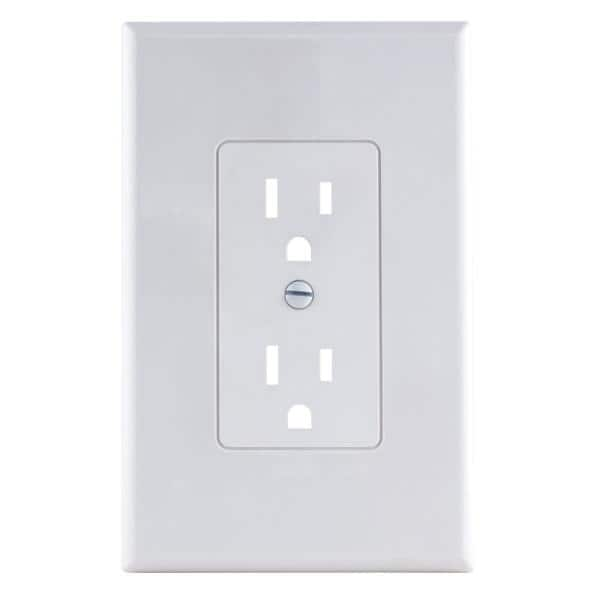 Commercial Electric 1 Gang Decorator Plastic Wall Plate White Smooth Ppcw R The Home Depot