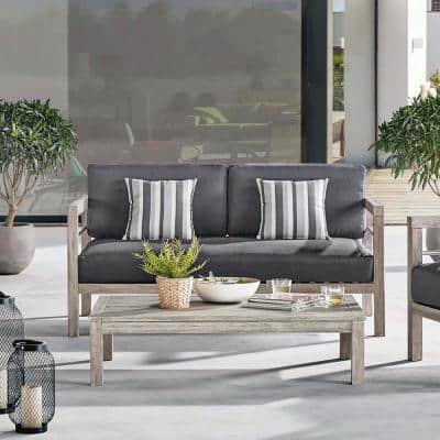 Wiscasset Light Gray Acacia Wood Outdoor Loveseat with Gray Cushions