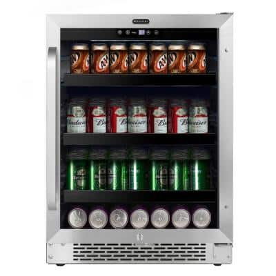 24 in. 46-Bottle Wine and 140-Can Beverage Cooler Undercounter Stainless Steel Refrigerator