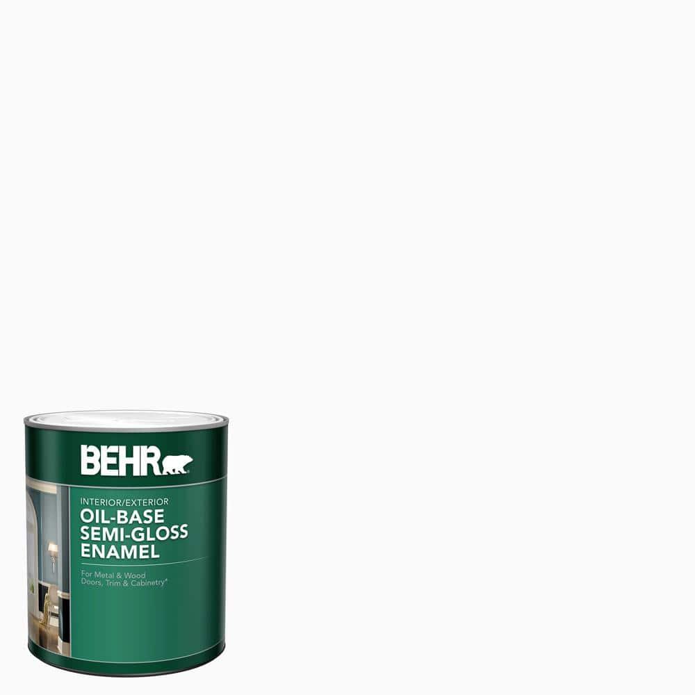 BEHR 1 qt. White Oil-Base Semi-Gloss Enamel Interior/Exterior Paint