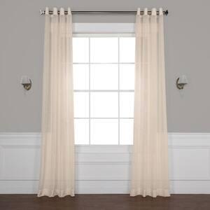 Beige Solid Grommet Sheer Curtain - 50 in. W x 120 in. L