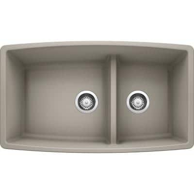 PERFORMA Concrete Gray Granite Composite 33 in. 60/40 Double Bowl Undermount Kitchen Sink with Low Divide