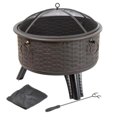 26 in. Steel Round Woven Fire Pit with Cover