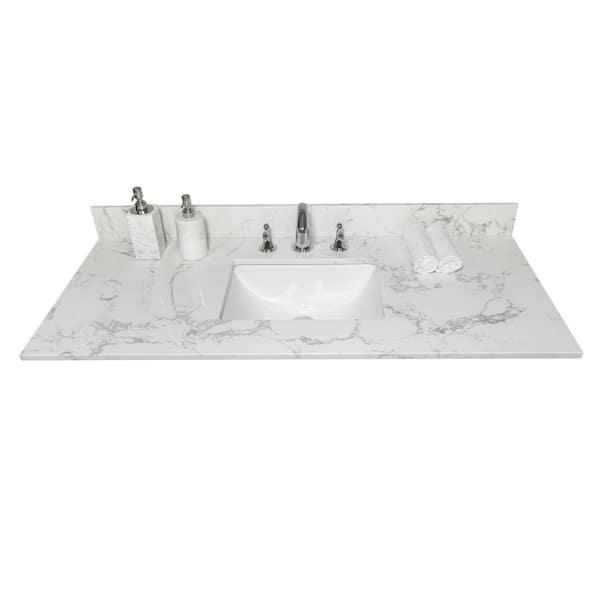 D Stone Vanity Top In Carrara White, Bathroom Vanity Tops 43 X 22