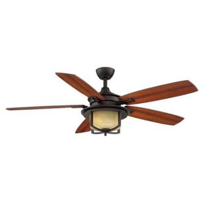 Devereaux II 52 in. LED Oil Rubbed Bronze Ceiling Fan with Light and Remote Control