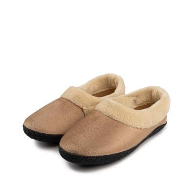 Size 10 L/XL Tan Memory Foam Heated Slipper with Rechargeable Battery