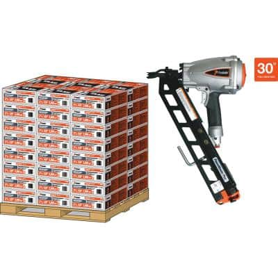 3 in. x 0.120 Heavy-Duty 30 -Degree Galvanized Ring Shank Paper-Taped Framing Nails with PMPlus Nailer (2000 per Box)