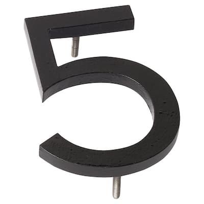 8 in. Black Aluminum Floating or Flat Modern House Number 5