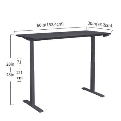 60 in. Electric Black Adjustable Height Standing Desk with Wireless Charging Pad
