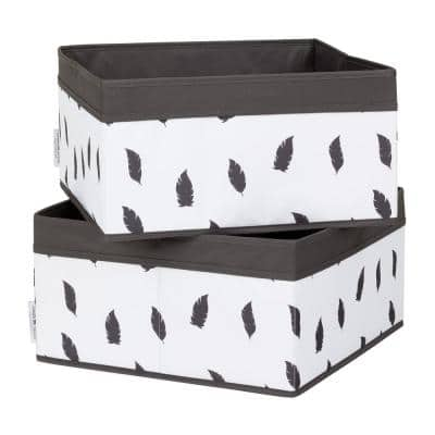 8 in. x 15 in. Storit White/Grey Basket Feathers Print (2-Pack)