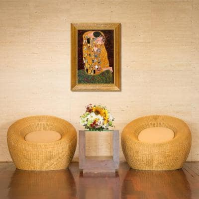"""43 in. x 31 in. """"The Kiss (Full view) with Vienna Gold Leaf Frame"""" by Gustav Klimt Framed Wall Art"""