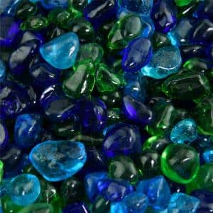 10 lbs. of Lily Pond 3/8 in. Blended Fire Glass Dots
