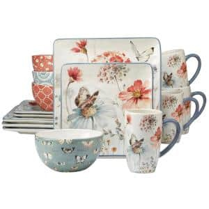 Country Fresh 16-Piece Traditional Multi-Colored Ceramic Dinnerware Set (Service for 4)