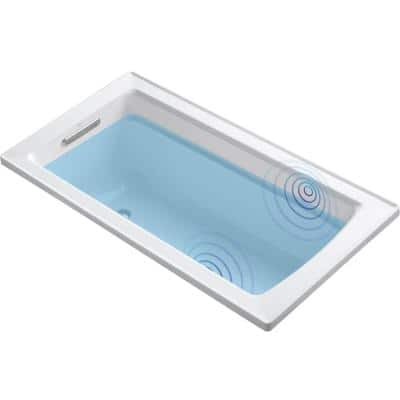 Archer 5 ft. Acrylic Rectangular Drop-in Non-Whirlpool Bathtub in White with Wireless Music Kit