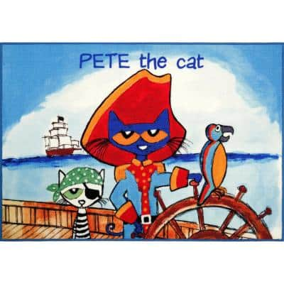 Elementary White Pirate Pete 6 ft. 6 in. x 9 ft. 5 in. Indoor Area Rug