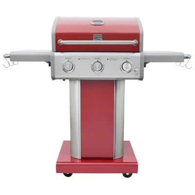 3 Burner Pedestal Propane gas Grill with Foldable Side Shelves in Red