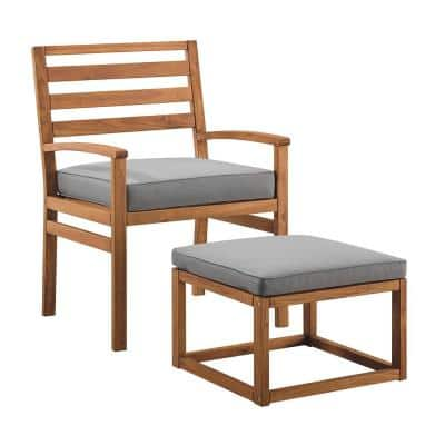 Acacia Wood Outdoor Patio Chair and Pull Out Ottoman - Brown/Grey