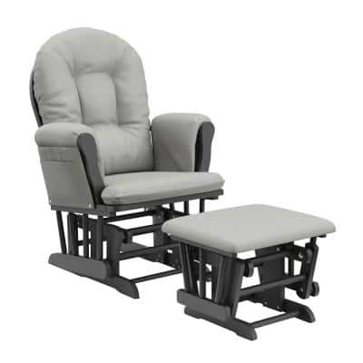 Hoop Gray with Light Gray Cushion Glider and Ottoman Set