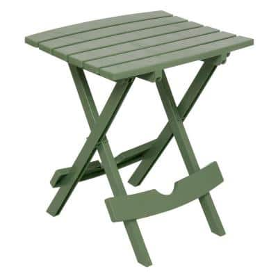 Quik-Fold Sage Resin Plastic Outdoor Side Table