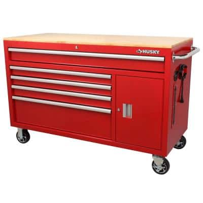 56 in. W 5-Drawer Gloss Red 1-Door Deep Tool Chest Mobile Workbench with Hardwood Top