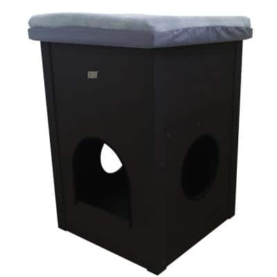 ECOFLEX Kitty Kube Cat House with Scratch Pad in Espresso