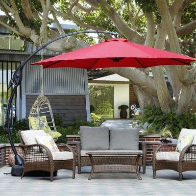 12 ft. Aluminum Pole Octagon Cantilever Patio Umbrella with Base in Red